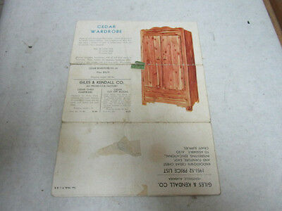 vintage Giles & Kendall Cedar Chest Co Mailing Brochure w Prices, Estate Listing