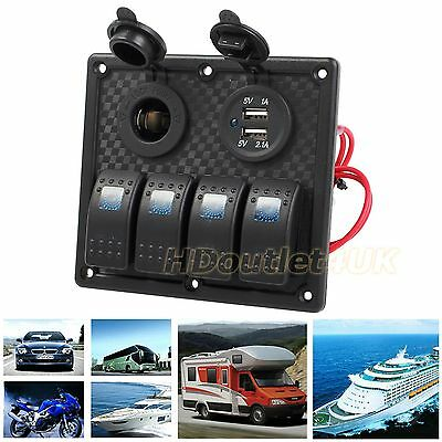 12V/24V 4 Gang Dual USB Car Marine LED Switch Panel Power Socket Waterproof AU