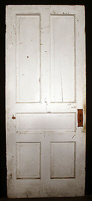 "34""x83"" Antique Vintage Victorian Solid Wood Wooden Interior Door 5 Raised Panel"