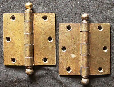 "2 Pairs available Antique Vintage 3.5""x3.5"" Stanley Ball Tip Interior Door Hinge"