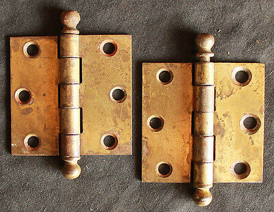 "Cleaned Pair 2.5""x2.5"" Vintage Stanley Brass Steel Interior Door Ball Tip Hinge"