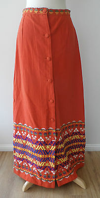 Vintage 70s Orange Aztec Embroidered High Waisted Long Maxi Skirt w Buttons 10 S