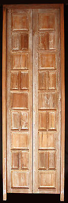 """30""""x96"""" Pair Antique STRIPPED Pre-Hung SOLID Teak Wood Entry Double Doors Frame"""