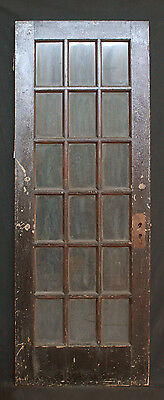 "30""x 80"" Antique Interior Exterior Entry French Oak Door 18 Wavy Glass Lites"