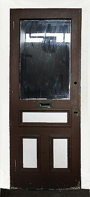 "34""x84"" Antique Victorian Wood Exterior Entry Side Back Door Window Raised Panel"