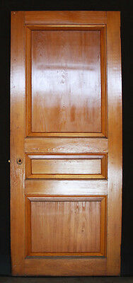 "32""x74.5"" Antique Arts & Crafts Interior Solid Cypress Wood Door 3 Raised Panels"