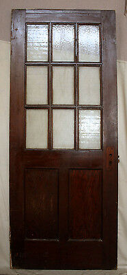 "5 avail 32""x79"" Antique Vintage Solid Wood Wooden Door Textured Glass Lite Pane"