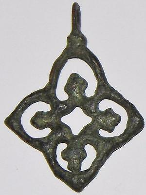 Fine Early Medieval Gothic Cross Bronze Pendant Fretwork Saxon or Norse Amulet