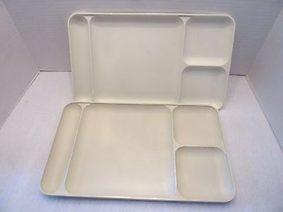 2 Vintage Tupperware Lunch Serving Trays Divided Plates ~ almond ~ heavy duty