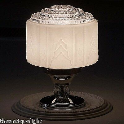 341 Vintage 30's Ceiling Light Lamp Fixture Glass Hall Porch Bath  Kitchen