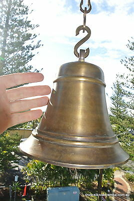 """XL ship nautical Door school Bell chain aged brass vintage style hang 8"""" heavy"""