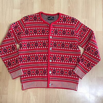 Vintage DEMETRE 100% Wool NORDIC Ski Sweater Mens Size XL Retro Red Navy