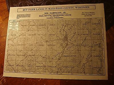 1913 Farm Lands Marathon County Wisconsin antique advertising MAP