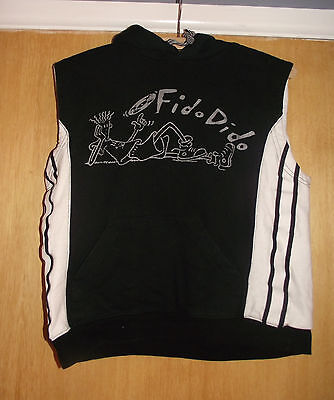 Black & White Fido Dido Sleeveless Hoodie 1 and only clothes co 10 -12 Years