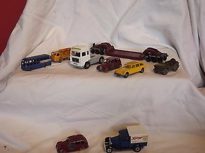 Collection of vintage die cast vehicles.