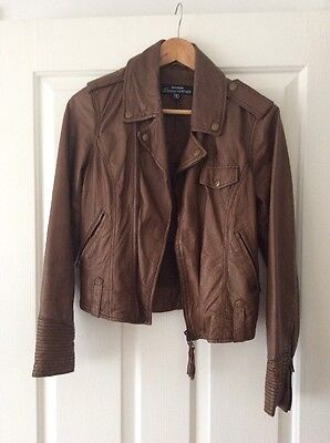 Just Jeans Brown Leather Jacket Women's Size 10