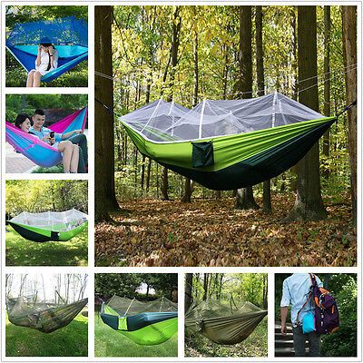 Outdoor Travel Camping Hiking Jungle Parachute Mosquito Net Hammock Bed Canopy