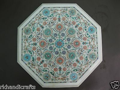 """13"""" Cottage Art & Craft Marble Table Top Semi Precious Stone Inlay Ultimate Work"""