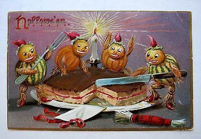 1908 Tucks Halloween Postcard With Pumpkin People Eating Cake