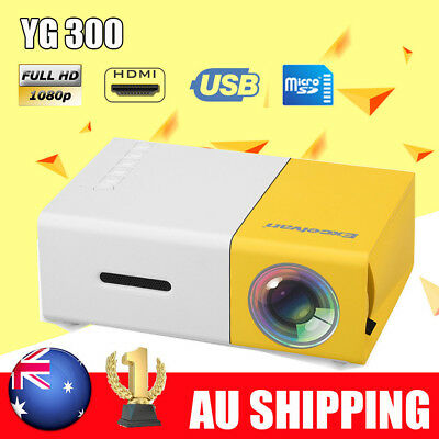NEW Portable YG300 LED Projector Home Cinema Theater PC Laptop CVBS USB SD HDMI