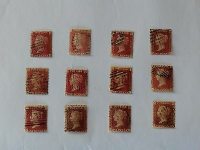 Set Of Twelve 12 Penny Red Stamps In Good Condition