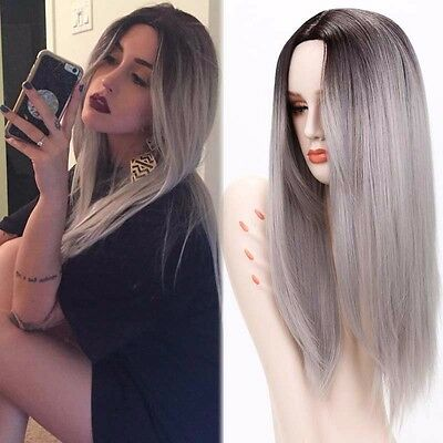 Fashion Ombre Gray Wig Long Straight Full Wig Heat Resistant Women Cosplay Wigs