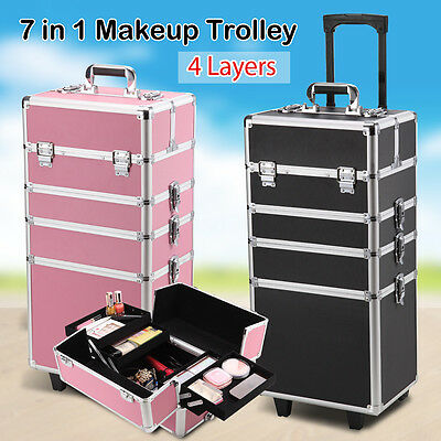 Portable 7 In 1 Beauty Case Makeup Case Cosmetic Box Carry Bag Organiser Trolley