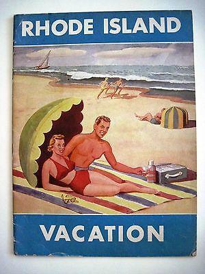 """1950 Travel Brochure for """"Rhode Island"""" w/ Nice Colored Cover of Beach Scene *"""