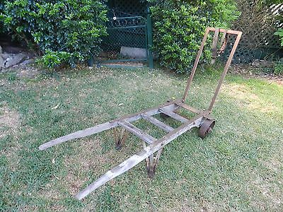 Over 100 year old vintage conductors luggage cart/trolley. Wool Balers cart.