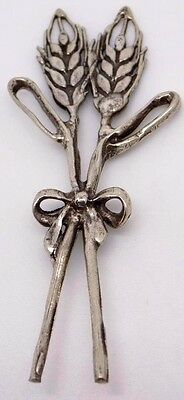 Vintage Solid Silver Wheat Spike Bouquet Miniature - Stamped - Made in Italy