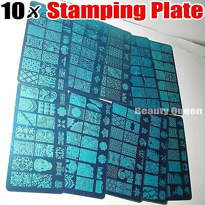10x BIG Full Nail Stamping Plate XL Stamp Image Disc Print Transfer Template NEW