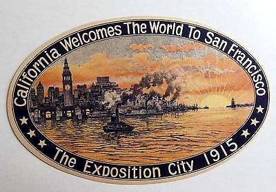 Rare Vintage 1915 San Francisco Exposition Luggage / Baggage Sticker-- Mint!