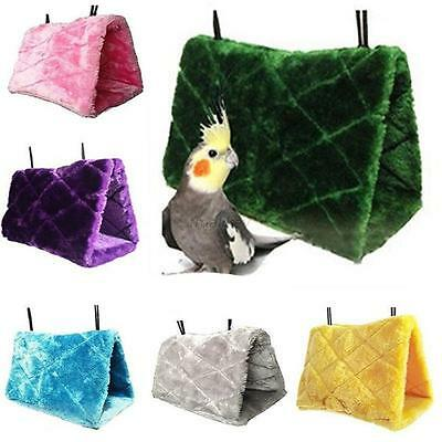 Plush Bird Pet Hammock Hanging Happy Hut Tent bed Cave Cage Snuggle Parrot Toys