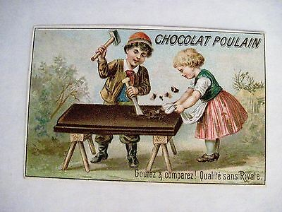 """Victorian French Trade Card for """"Chocolat Poulain"""" w/ Boy Chopping Up Chocolate*"""