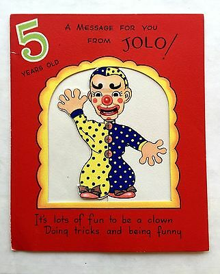 Vintage 1950 Childrens 5 Years Old Pop Out Birthday Greeting Card W