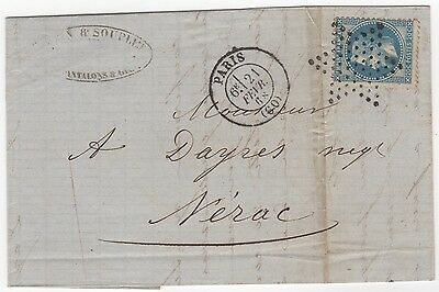 France 1868 tailor's letter folded as cover, with franked stamp
