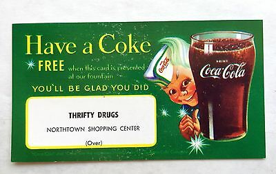 Vintage Free Coke Coupon at Thrifty Drugs Soda Fountain