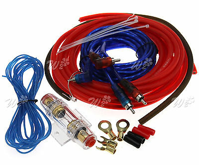 10GA Car Amplifier Wiring Kit Audio Subwoofer Sub Power AMP RCA Cable AGU FUSE