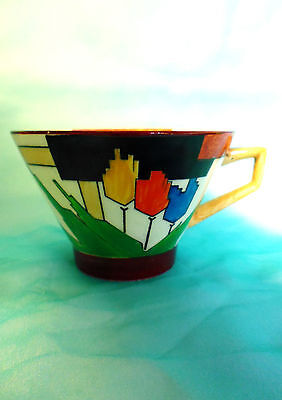 "AUTHENTIC Royal Winton Grimwades Ivory hand painted Art Deco cup ""HANDCRAFT"""