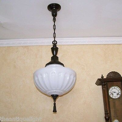 798 Vintage 20's 30's Ceiling Light Lamp Fixture Hall Entryway Porch X-Large