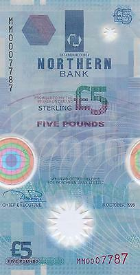 1999 £5 Polymer Banknote Northern Bank Ltd. Excellent condition.
