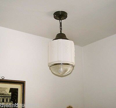 803 Vintage aRT DEco 30's 40's Chrome Ceiling Light Lamp Fixture Glass hall bath