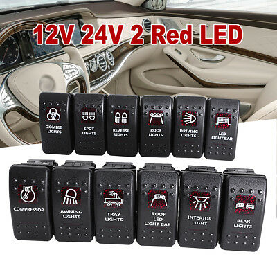 12V 20A Bar SPST Rocker Toggle ON-OFF Switch Red LED Light Waterproof Car Boats
