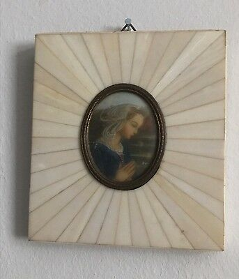 Antique Miniature Old Oil Painting Picture Art Deco Portrait Signed