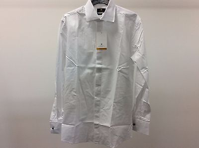 Mens White Dinner Wedding Standard Plain Tuxedo Formal Slim Dress Shirt Size 15