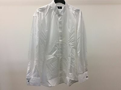 Mens White Wing Plain Wedding Tuxedo Formal Dinner Dress Shirt Size 15 1/2