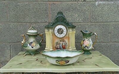 Clock| Garniture set| Ceramic|Vintage| Green|Yellow| Gold|