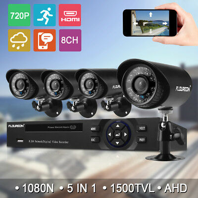 FLOUREON 8CH CCTV DVR 1500TVL IR Home Surveillance Security Camera System Night