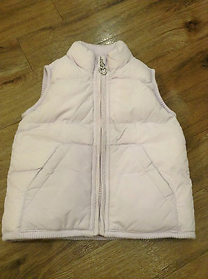 Little Girls Lilac Padded Waistcoat Gillet Gilet Bodywarmer Fleece Lining 3Yrs