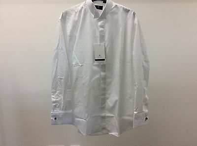 Mens White Wing Plain Tuxedo Formal Dinner Wedding Dress Shirt Size 14 1/2